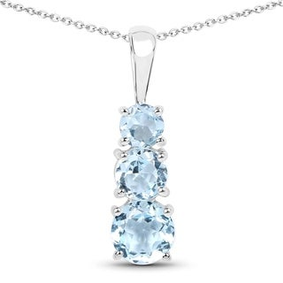Malaika Sterling Silver Blue Topaz 2ct TGW Bar Pendant
