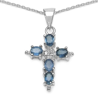 Malaika 1.10 Carat Genuine Blue Sapphire .925 Sterling Silver Pendant