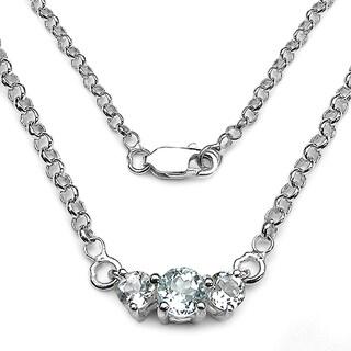 Malaika 0.95 Carat Genuine Aquamarine .925 Sterling Silver Necklace