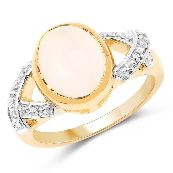 Olivia Leone 14K Yellow Gold Plated 3.06 Carat Genuine White Moonstone and White Topaz .925 Sterling