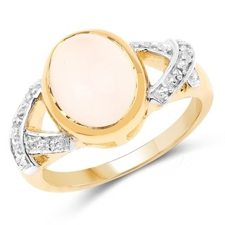 Olivia Leone 14K Yellow Gold Plated 3.06 Carat Genuine White Moonstone and White Topaz .925 Sterling Silver Ring