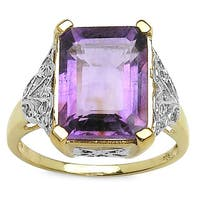 Malaika Goldplated Sterling Silver Octagon Amethyst White Topaz Ring