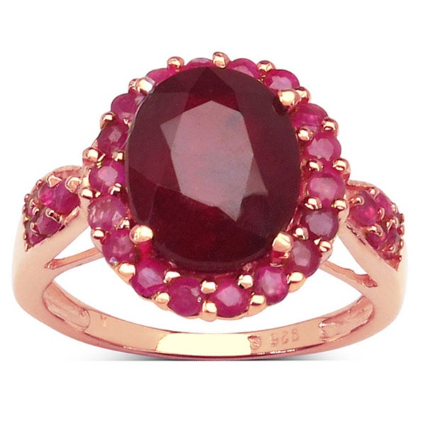 Malaika Rose Gold Plated Sterling Silver 5 1//5 Carat Genuine Ruby Ring