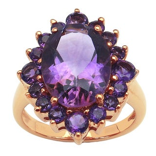 Malaika 14K Rose Gold Plated 6.34 Carat Genuine Amethyst Brass Ring