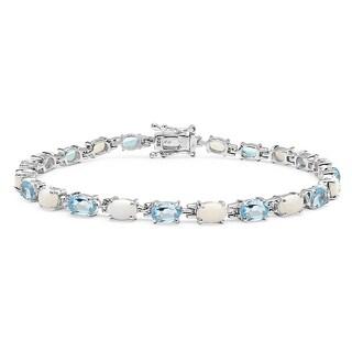 Malaika Sterling Silver Blue Topaz/ Opal 10.5ct TGW Bracelet