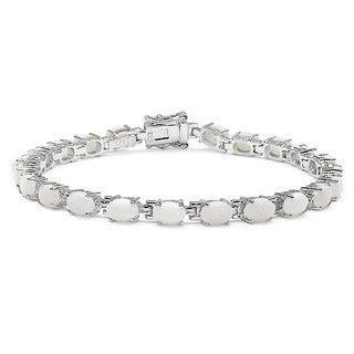 Malaika Sterling Silver Opal 6.8ct TGW Bracelet