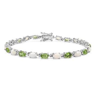 Malaika Sterling Silver Periodot/ Opal 8.3ct TGW Bracelet