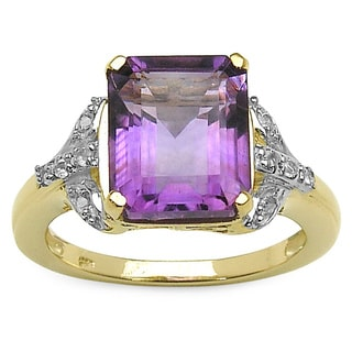 Malaika 14k Gold-plated Sterling Silver Amethyst/ White 3.9ct TGW Topaz Ring