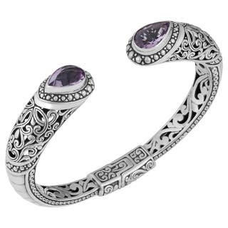 Sterling Silver Amethyst Bali Statement Cuff Bracelet (Indonesia)|https://ak1.ostkcdn.com/images/products/9952076/P17106185.jpg?impolicy=medium