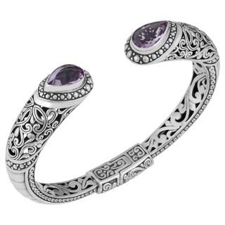 Sterling Silver Amethyst Bali Statement Cuff Bracelet (Indonesia)