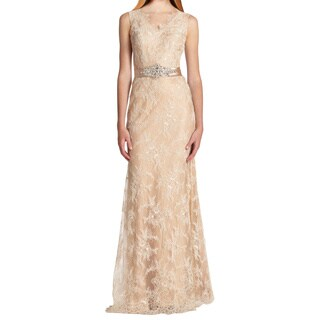 La Femme Nude Rhinestone and Lace Beaded Formal Gown