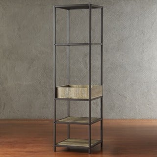 TRIBECCA HOME Sadie Industrial Rustic Open Crate Shelf Media Tower