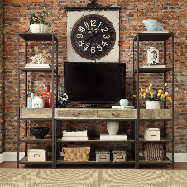 Sa Rustic Open Shelf Media Console With Two Towers By Inspire Q Clic