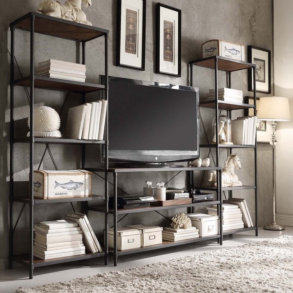 Harrison Industrial Rustic Pipe Frame Media Stand with Two 26-inch Towers by iNSPIRE Q Classic