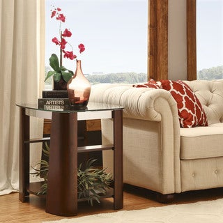 Glenwood Rectangle Brown End Table With Storage Glass Top
