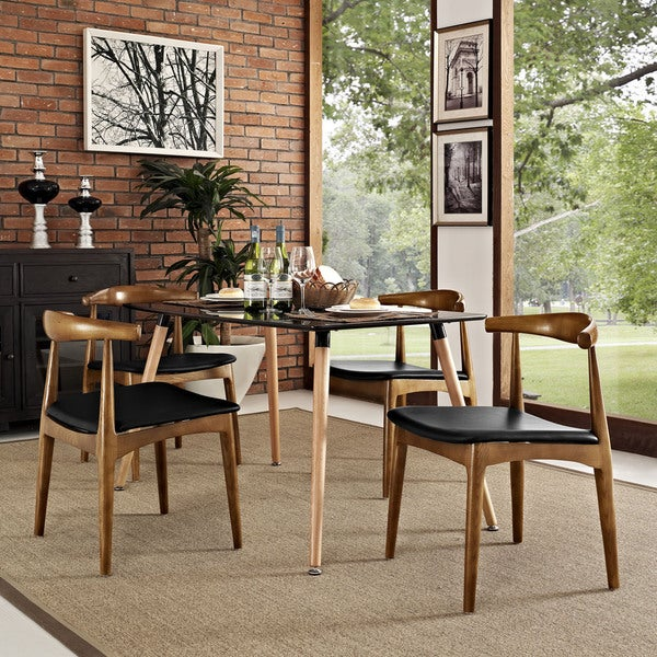 Wonderful Tracy Leatherette And Wood Mid Century Dining Chairs (Set Of 4)