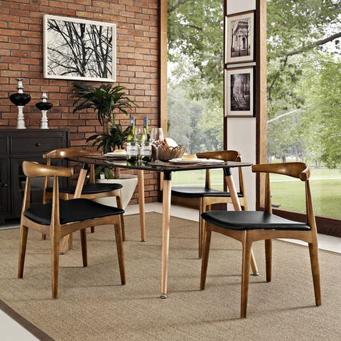 Tracy Leatherette and Wood Mid-century Dining Chairs (Set of 4)