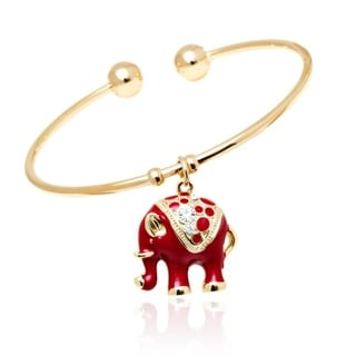 Peermont Jewelry 18k Gold-plated Goldtone/ Red Elephant Charm Bangle