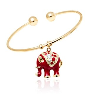 Gold-plated Goldtone/ Red Animal Design Charm Bangle