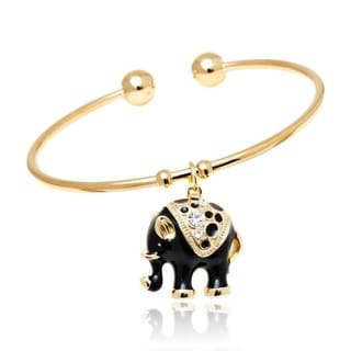 Peermont Jewelry 18k Gold-plated Goldtone/ Black Elephant Charm Bangle with Crystal Details