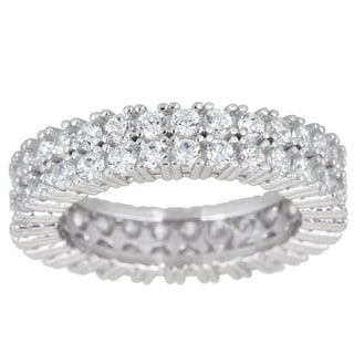 Decadence Sterling Silver Cubic Zirconia 2-strand Eternity Ring