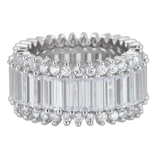 Decadence Sterling Silver Round and Baguette-cut Cubic Zirconia Micropave Eternity Ring