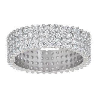 Decadence Sterling Silver Cubic Zirconia 4-strand Eternity Ring