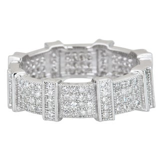 Decadence Sterling Silver Cubic Zirconia Fancy Micropave Eternity Ring