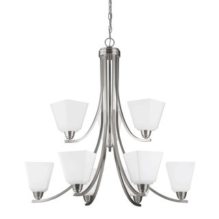 Parkfield Nine Light Chandelier in Brushed Nickel with Etched Glass Painted White Inside