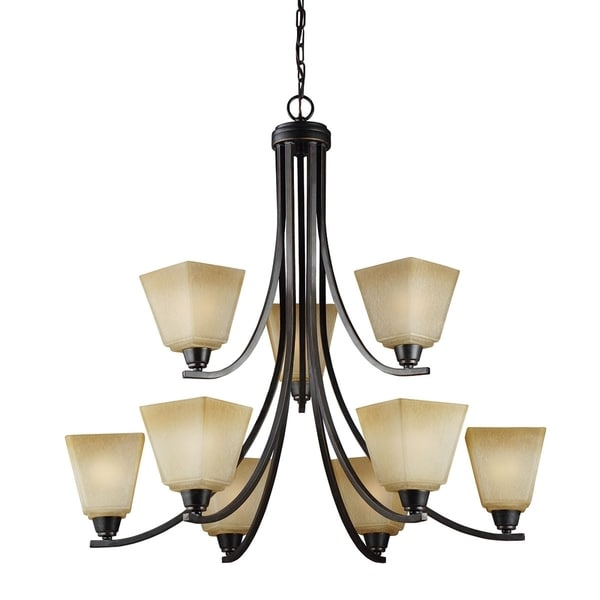 Parkfield Nine Light Chandelier in Flemish Bronze with Creme Parchement Glass
