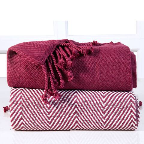 Soft 100-percent Cotton Hand Twisted 50x60 Throw Blanket (Set of 2)