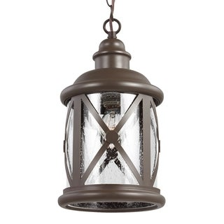 Sea Gull Lighting Antique Bronze One Light Pendant with Clear Seeded Glass
