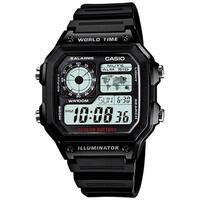 Casio Men's AE-1200WH-1AV World Time Digital Black Stainless Steel Watch