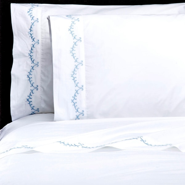 Laurel Embroidery Percale Cotton Sheet Sets
