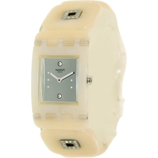 Swatch Women's Originals SUBW110B Beige Plastic Swiss Quartz Watch