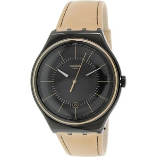 Swatch Men's Irony YWB400 Brown Leather Swiss Quartz Watch