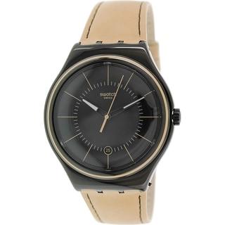Swatch Men's Irony YWB400 Brown Leather Swiss Quartz Watch