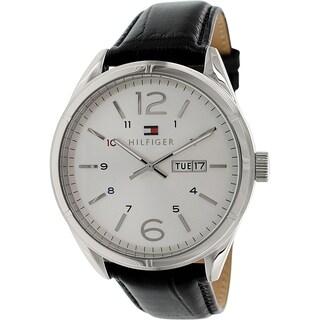 Tommy Hilfiger Men's 1791060 Silver Leather Analog Quartz Watch