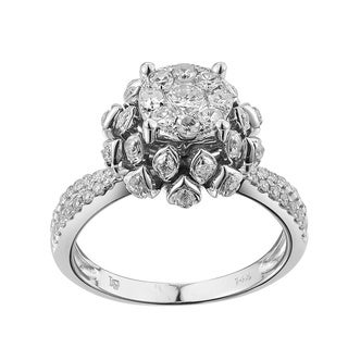 14k White Gold 7/8ct TDW Diamond Engagement Ring