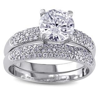 Miadora Sterling Silver Cubic Zirconia Bridal Ring Set