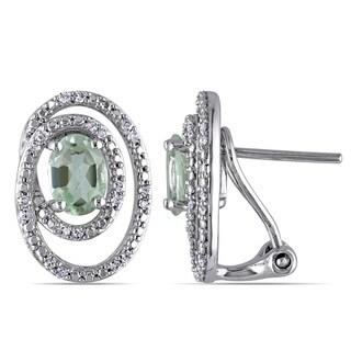 Miadora Silver Green Amethyst and 1/5ct TDW Diamond Earrings (G-H, I2-I3)