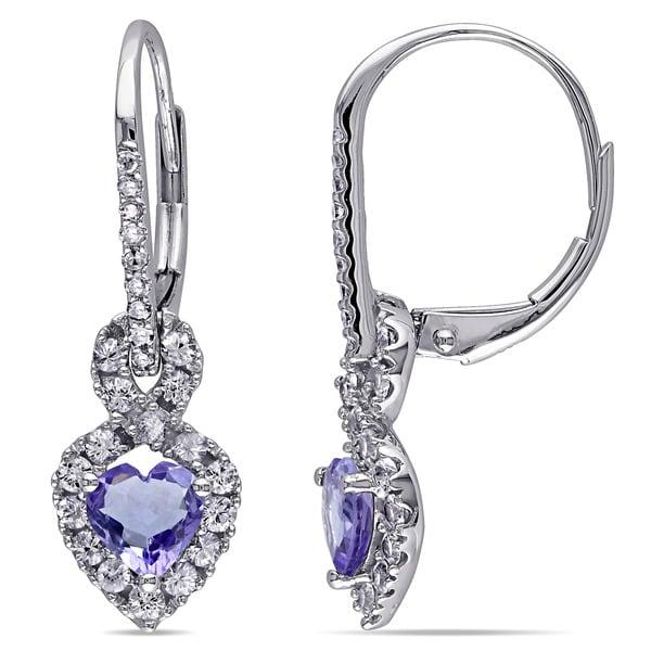 Miadora 14k White Gold Tanzanite Sapphire and 1/10ct TDW Diamond Earrings (G-H, I1-I2)