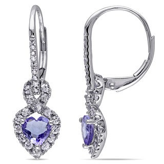 Miadora 14k White Gold Tanzanite Sapphire and 1/10ct TDW Diamond Earrings (G-H, I1-I2)