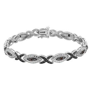 Divina Sterling Silver 1/6 ct TDW Champagne Diamond Bracelet (I2-I3)