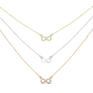 Sterling Silver Graduated 3-strand Gold-plated Cubic Zirconia Infinity Necklace