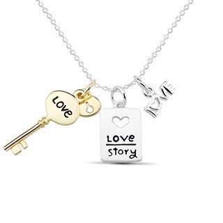 Sterling Silver Gold-plated 3-charm Love Necklace