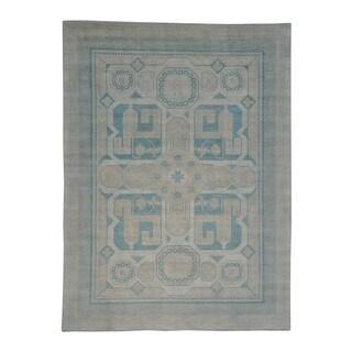100 Percent Wool Milk Wash Khotan Handmade Oriental Rug (10'3 x 13'8)