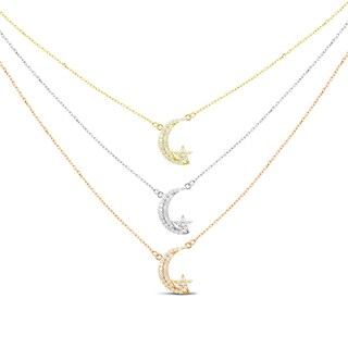 Sterling Silver Graduated 3-strand Gold-plated Cubic Zirconia Celestial Necklace