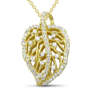 Sterling Silver Goldplated Cubic Zirconia Leaf Pendant
