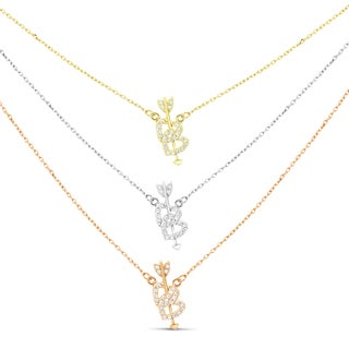 Sterling Silver Graduated 3-strand Gold-plated Cubic Zirconia Heart and Arrow Necklace